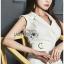 เดรสเกาหลี พร้อมส่ง สูทเดรส สีขาวตกแต่งเข็มขัด thumbnail 8