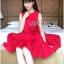 ชุดเดรสเกาหลี พร้อมส่ง เดรสคัทเอ้าท์เอว สีแดงสการ์เล็ต thumbnail 4