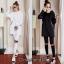 เสื้อผ้าเกาหลี เซ็ท เดรสฮู้ด+กางเกง พร้อมส่ง thumbnail 1