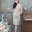 ชุดเดรสเกาหลี พร้อมส่ง เดรสผ้าไหมบนลูกไม้ดิ้นทองคอวี thumbnail 16