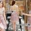 เดรสเกาหลี พร้อมส่ง เดรสผ้าลูกไม้สีชมพูทรงหัวใจ thumbnail 2