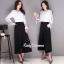 เสื้อเกาหลี พร้อมส่ง เสื้อขาวกับกางเกงขายาว thumbnail 1
