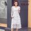ชุดเดรสเกาหลี พร้อมส่ง Dress ผ้าปักดอก 3 D thumbnail 1