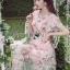 พร้อมส่ง เดรสผ้าทูลเลปักดอกไม้กุหลาบสีชมพู thumbnail 3
