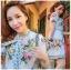 เดรสเกาหลี พร้อมส่ง มินิเดรสพิมพ์ลายดอกไม้ thumbnail 5