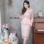 ชุดเดรสเกาหลี พร้อมส่ง Dress ผ้าไหมปักลูกไม้คอวี thumbnail 1