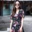ชุดเดรสเกาหลี พร้อมส่ง Maxi Dress ผ้าชีฟอง ลายดอก thumbnail 5