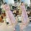 ชุดเดรสเกาหลี พร้อมส่ง เดรสผ้าชีฟอง ลายดอกสีชมพู ผูกไหล่ thumbnail 3