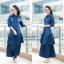 ชุดเดรสเกาหลี พร้อมส่ง Maxi Dress ยีนส์ระบาย thumbnail 10