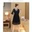 เดรสเกาหลีสีดำ พร้อมส่ง เดรสผ้าลูกไม้ลายเส้น thumbnail 4