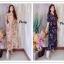 ชุดเดรสเกาหลี พร้อมส่ง maxi dress คอวีเปิด thumbnail 2