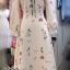ชุดเดรสเกาหลี พร้อมส่ง Dress ยาว สีครีม thumbnail 6