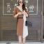 เดรสเกาหลี พร้อมส่ง Long Dress เดรสทูโทน ตัวยา thumbnail 3