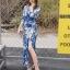 ชุดเดรสเกาหลี พร้อมส่ง maxi dress สีน้ำเงินพิมพ์ลายดอก thumbnail 2