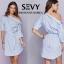 พร้อมส่ง Mini dress รายริ้วฟ้าสลับขาว thumbnail 3