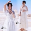 พร้อมส่ง long dress สีขาวคอวี แขน 5 ส่วน thumbnail 1