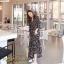ชุดเดรสเกาหลี พร้อมส่ง Maxi Dress ทรงบาน คอวีป้ายอก thumbnail 4
