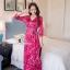 ชุดเดรสเกาหลี พร้อมส่ง เดรสยาว ลายสีชมพู-แดงสดใส thumbnail 4