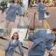 เสื้อผ้าเกาหลี พร้อมส่ง เสื้อแขนพองกับกระโปรงทรงเอ thumbnail 2