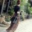 เสื้อผ้าเกาหลี พร้อมส่ง เสื้อดำผ้ายืดกับกระโปรงลายเสือ thumbnail 4