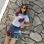พร้อมส่ง ชุดเซ็ทเสื้อ+กางเกงยีนส์ปักขาสั้นเกาหลี thumbnail 9