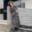 ชุดเดรสเกาหลี พร้อมส่ง Maxi Dress ทรงบาน คอวีป้ายอก thumbnail 11