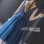 ชุดเดรสเกาหลี พร้อมส่ง ค็อกเทลเดรสผ้าทูลเลสีน้ำเงิน thumbnail 10