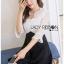 ชุดเดรสเกาหลี ผ้าลูกไม้สีขาวและเครปสีดำ พร้อมส่ง thumbnail 7