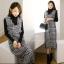 ชุดเดรสเกาหลี พร้อมส่ง เดรสเอี๊ยม ผ้าทวีตชาแนล thumbnail 4