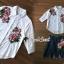 เสื้อผ้าเกาหลี พร้อมส่ง เสื้อปักดอกไม้กับกระโปรงยีนส์ thumbnail 4