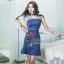 เดรสเกาหลี พร้อมส่ง เดรสยีนส์ ผ้าเดนิมสีเข้ม thumbnail 2