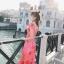 ชุดเดรสเกาหลี พร้อมส่ง Maxi Dress เดรสยาว ลายดอกไม้สีชมพู thumbnail 5