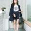 เสื้อผ้าเกาหลี พร้อมส่ง เสื้อคลุมBazer+กางเกงขาสั้น thumbnail 3