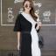 เดรสเกาหลี พร้อมส่ง Long Dress เดรสทูโทน ตัวยา thumbnail 13