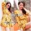 พร้อมส่ง จั้มสูทพิมพ์ลายดอกไม้สีเหลืองคัทเอาท์เอว thumbnail 3