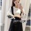 เดรสเกาหลี พร้อมส่ง เอี๊ยม เดรสผ้าเครปสีดำทับเสื้อคอตตอน thumbnail 14