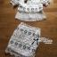 พร้อมส่ง เซ็ตเสื้อผ้าลูกไม้ตกแต่งชายผ้าพลีตและกระโปรงสอบ thumbnail 4