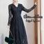 ชุดเดรสเกาหลี พร้อมส่ง Dress แขนยาว คอวี thumbnail 2