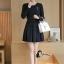 พร้อมส่ง Mini dress เรียบร้อยสีดำ thumbnail 4