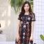 ชุดเดรสเกาหลี พร้อมส่ง Dress ผ้าแก้วปักลูกไม้ลายดอก thumbnail 10