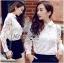 พร้อมส่ง เสื้อแฟชั่น เสื้อเกาหลี เชิ้ตขาวผ้าตาข่าย thumbnail 1