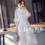 เดรสเกาหลี พร้อมส่ง ชุดเดรสเจ้าหญิงผ้าลูกไม้ปักสีขาว thumbnail 3