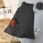 เดรสเกาหลี พร้อมส่ง เดรสผ้าชาแนลสีขาวดำ ทรงเอ thumbnail 10