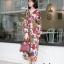 ชุดเดรสเกาหลี พร้อมส่ง เดรสลายดอก คอวี ผ้าพริ้ว thumbnail 14