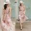 ชุดเดรสเกาหลี พร้อมส่ง เดรสผ้าชีฟอง ลายดอกสีชมพู ผูกไหล่ thumbnail 7