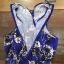 พร้อมส่ง จั๊มสูทสีฟ้าพิมพ์ลายดอกไม้ thumbnail 10