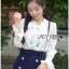 เสื้อเกาหลี พร้อมส่ง เสื้อผ้าเครปตอกแต่งลูกไม้ปักลาย thumbnail 4