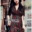 เดรสเกาหลี พร้อมส่ง เดรสผ้าเครป พิมพ์ลายดอกกุหลาบสีแดง thumbnail 10