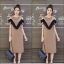เดรสเกาหลี พร้อมส่ง Sleeveless V Dress เว้าไหล่ thumbnail 7