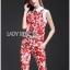 พร้อมส่ง เสื้อและกางเกงลายดอกไม้สีแดง thumbnail 7